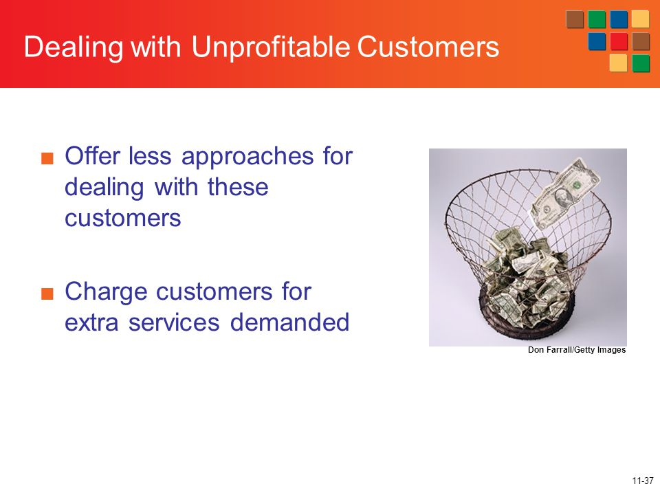 11-37 Dealing with Unprofitable Customers ■Offer less approaches for dealing with these customers ■Charge customers for extra services demanded Don Farrall/Getty Images