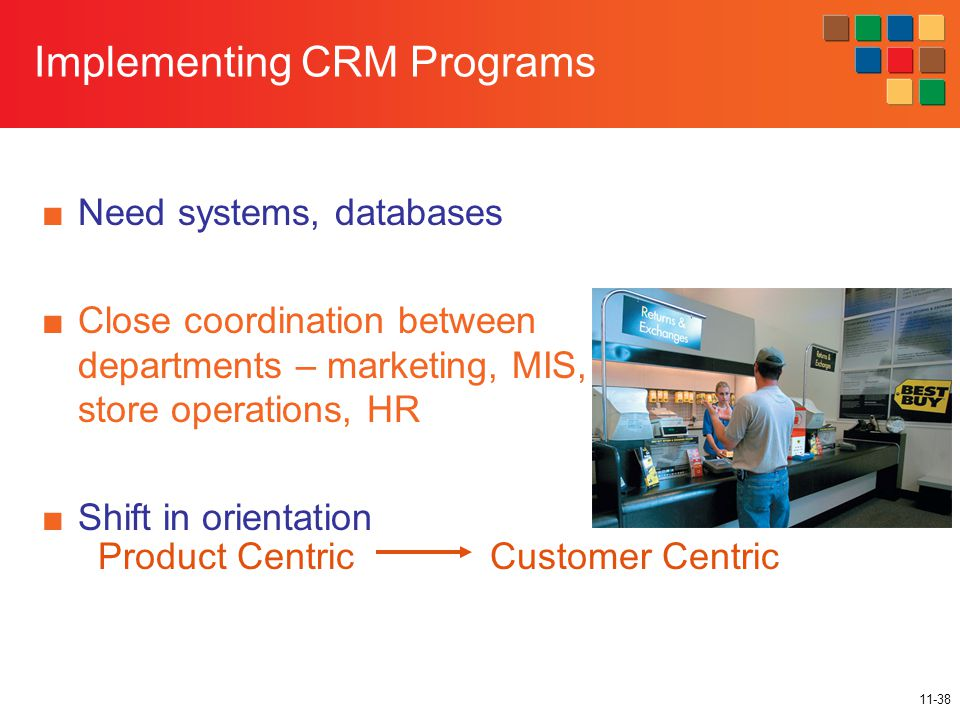 11-38 Implementing CRM Programs ■Need systems, databases ■Close coordination between departments – marketing, MIS, store operations, HR ■Shift in orientation Product CentricCustomer Centric