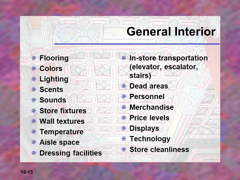18-15 General Interior  Flooring  Colors  Lighting  Scents  Sounds  Store fixtures  Wall textures  Temperature  Aisle space  Dressing facili