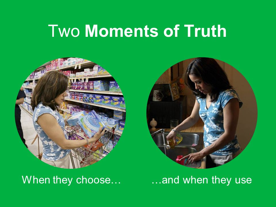 Two Moments of Truth When they choose……and when they use