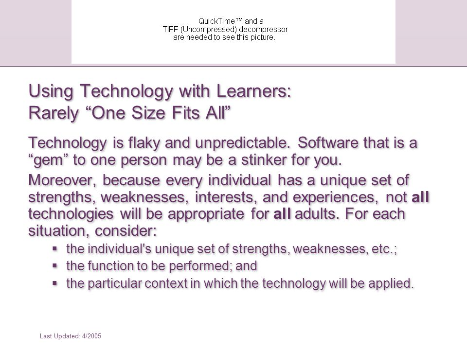 Where Does This Leave Us.Evaluation of classroom technology must include accessibility checks.