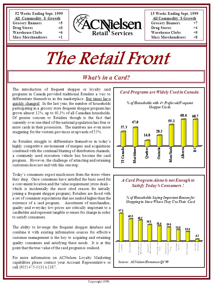 Copyright 1999, ACNielsen In the last issue of the Retail Front, the main article dealt with Retail Consolidation…the Big are getting Bigger. However, the scope of the article was limited to the Canadian market.