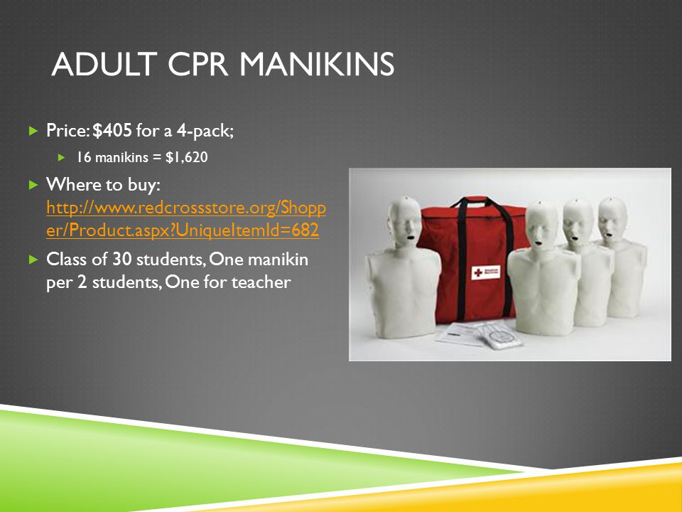 ADULT CPR MANIKINS  Price: $405 for a 4-pack;  16 manikins = $1,620  Where to buy: http://www.redcrossstore.org/Shopp er/Product.aspx UniqueItemId=682 http://www.redcrossstore.org/Shopp er/Product.aspx UniqueItemId=682  Class of 30 students, One manikin per 2 students, One for teacher