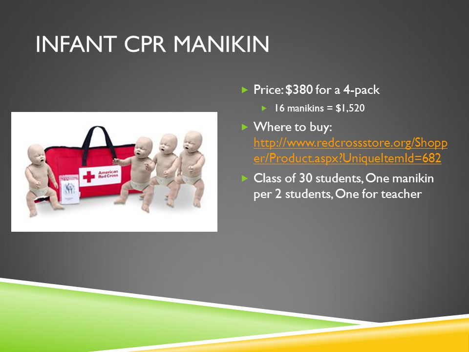 INFANT CPR MANIKIN  Price: $380 for a 4-pack  16 manikins = $1,520  Where to buy: http://www.redcrossstore.org/Shopp er/Product.aspx UniqueItemId=682 http://www.redcrossstore.org/Shopp er/Product.aspx UniqueItemId=682  Class of 30 students, One manikin per 2 students, One for teacher