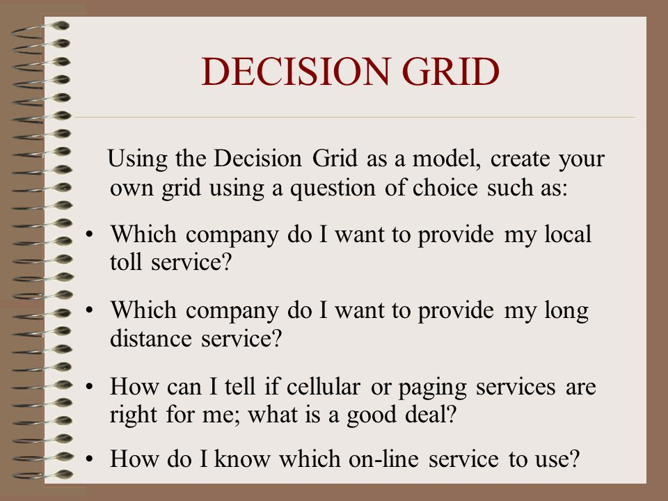 DECISION GRID Using the Decision Grid as a model, create your own grid using a question of choice such as: Which company do I want to provide my local toll service.