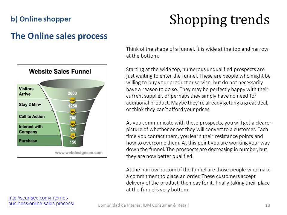 Comunidad de Interés: IDM Consumer & Retail18 http://seanseo.com/internet- business/online-sales-process/ Shopping trends b) Online shopper The Online sales process Think of the shape of a funnel, it is wide at the top and narrow at the bottom.