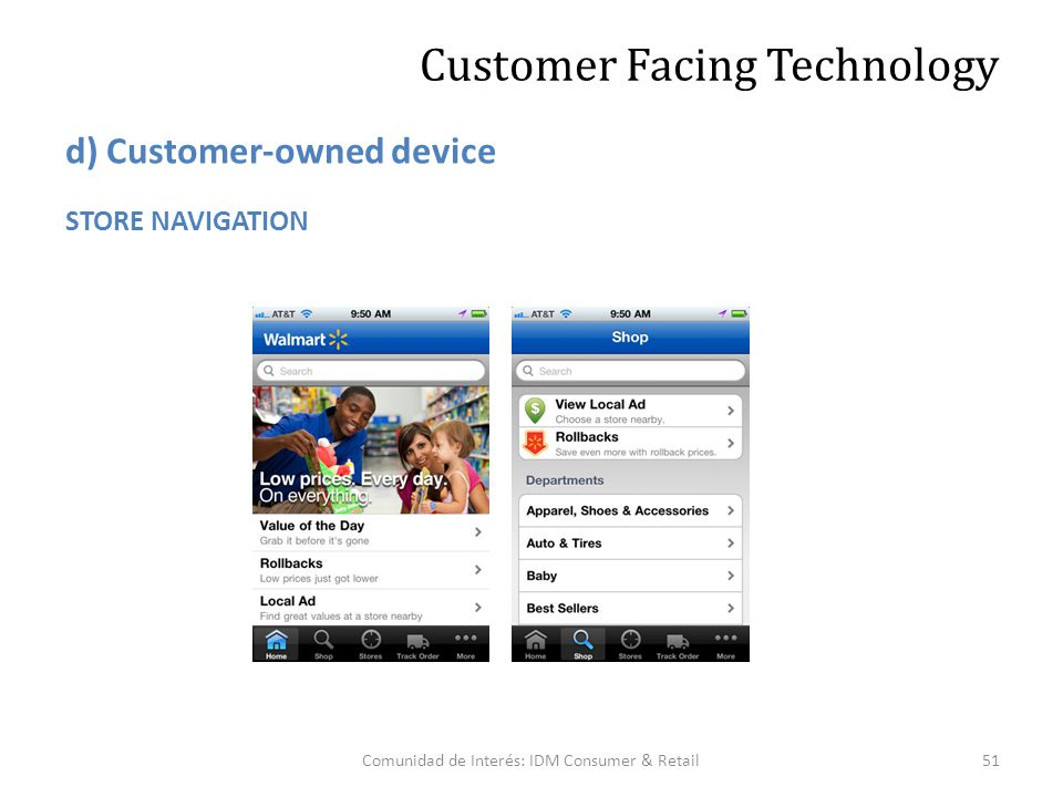 Comunidad de Interés: IDM Consumer & Retail51 Customer Facing Technology STORE NAVIGATION d) Customer-owned device