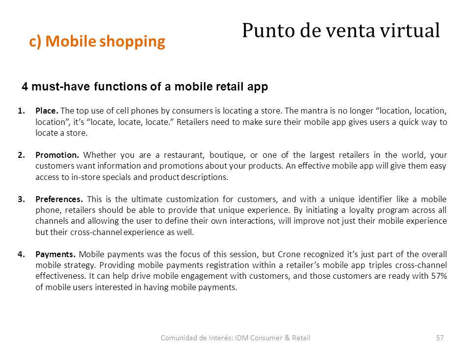 4 must-have functions of a mobile retail app 1.Place.