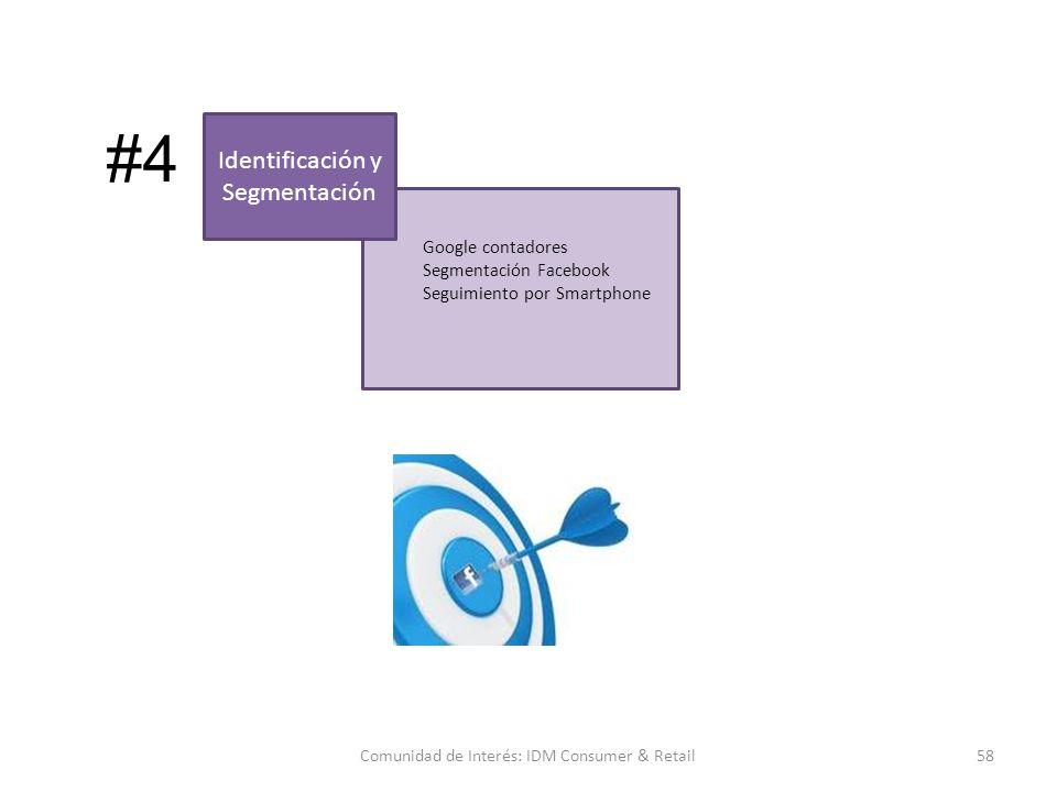 Google contadores Segmentación Facebook Seguimiento por Smartphone 58Comunidad de Interés: IDM Consumer & Retail Identificación y Segmentación #4