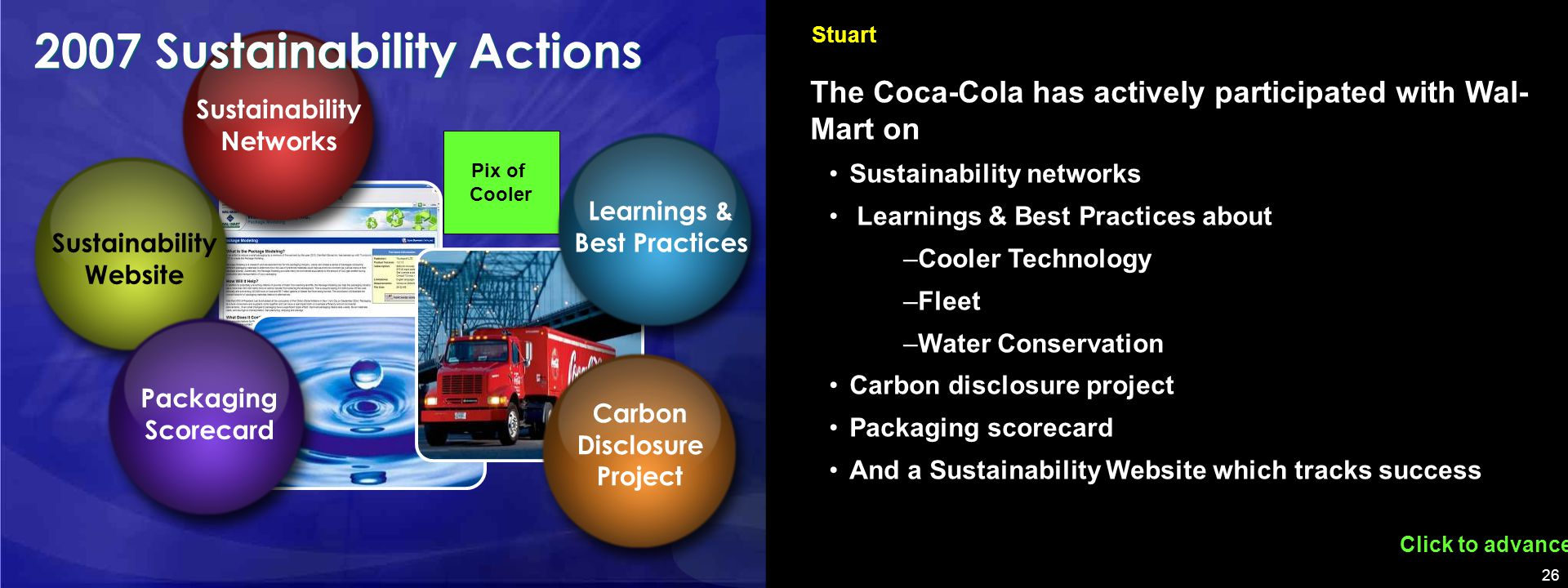 26 Pix of Cooler Click to advance Stuart The Coca-Cola has actively participated with Wal- Mart on Sustainability networks Learnings & Best Practices about –Cooler Technology –Fleet –Water Conservation Carbon disclosure project Packaging scorecard And a Sustainability Website which tracks success Sustainability Website Sustainability Networks Learnings & Best Practices Carbon Disclosure Project Packaging Scorecard 2007 Sustainability Actions
