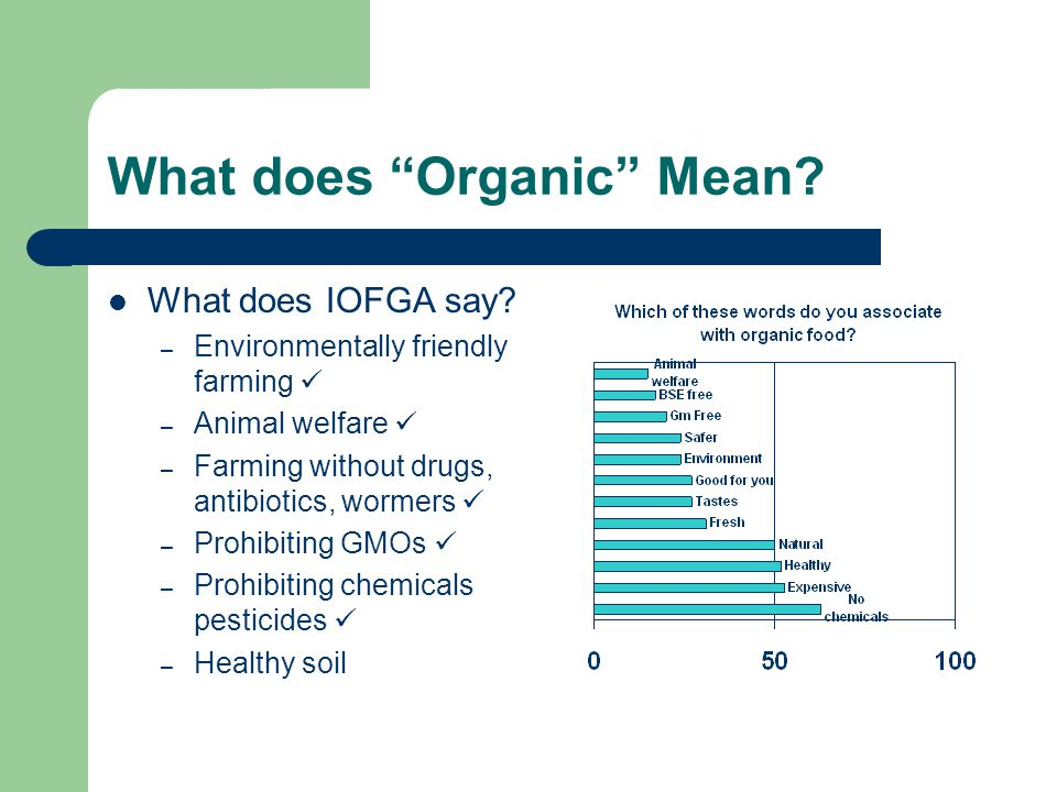 "What does ""Organic"" Mean? What does IOFGA say? – Environmentally friendly farming – Animal welfare – Farming without drugs, antibiotics, wormers – Pro"