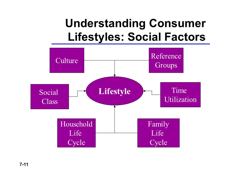 7-11 Understanding Consumer Lifestyles: Social Factors Lifestyle Culture Reference Groups Social Class Family Life Cycle Time Utilization Household Li