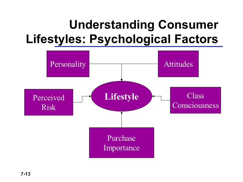 7-13 Understanding Consumer Lifestyles: Psychological Factors Lifestyle PersonalityAttitudes Perceived Risk Purchase Importance Class Consciousness