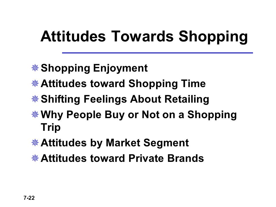 7-22 Attitudes Towards Shopping  Shopping Enjoyment  Attitudes toward Shopping Time  Shifting Feelings About Retailing  Why People Buy or Not on a