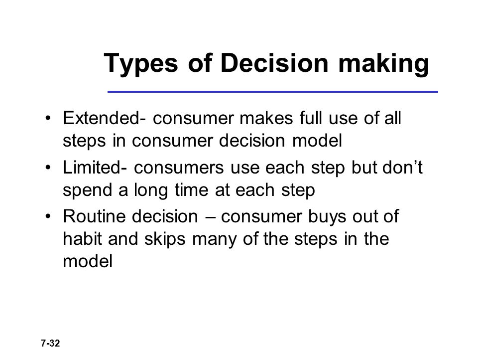 7-32 Types of Decision making Extended- consumer makes full use of all steps in consumer decision model Limited- consumers use each step but don't spe