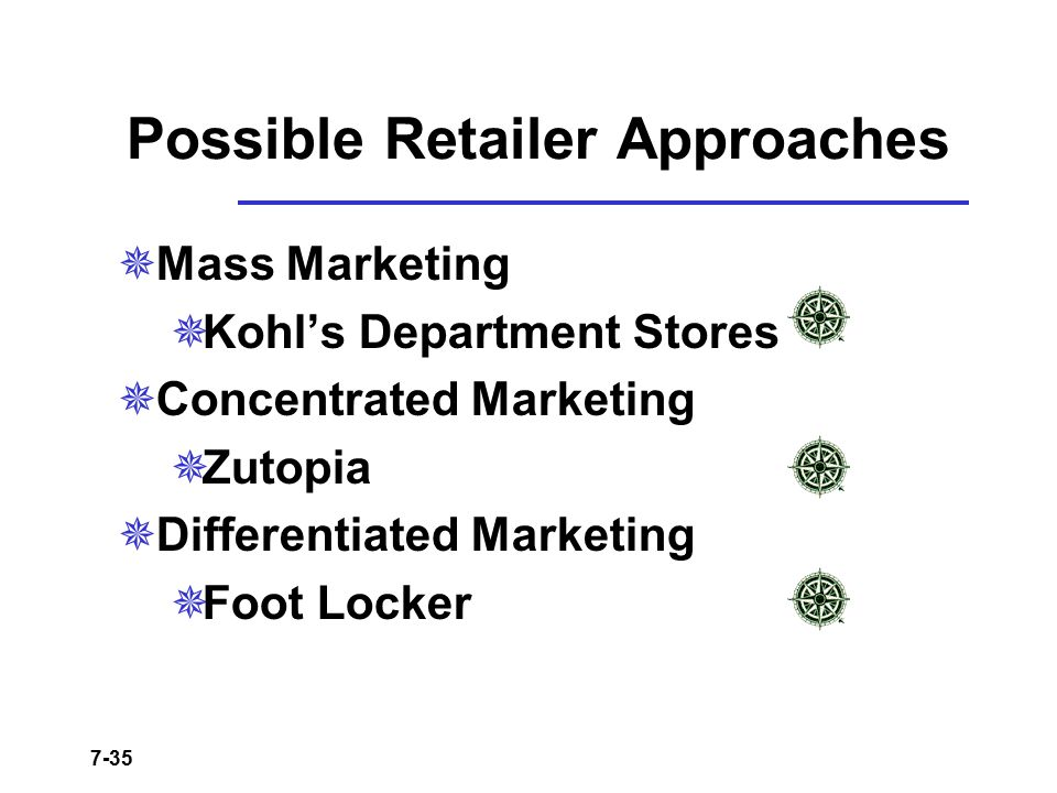 7-35 Possible Retailer Approaches  Mass Marketing  Kohl's Department Stores  Concentrated Marketing  Zutopia  Differentiated Marketing  Foot Loc