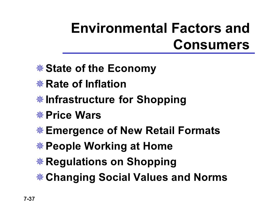 7-37 Environmental Factors and Consumers  State of the Economy  Rate of Inflation  Infrastructure for Shopping  Price Wars  Emergence of New Reta