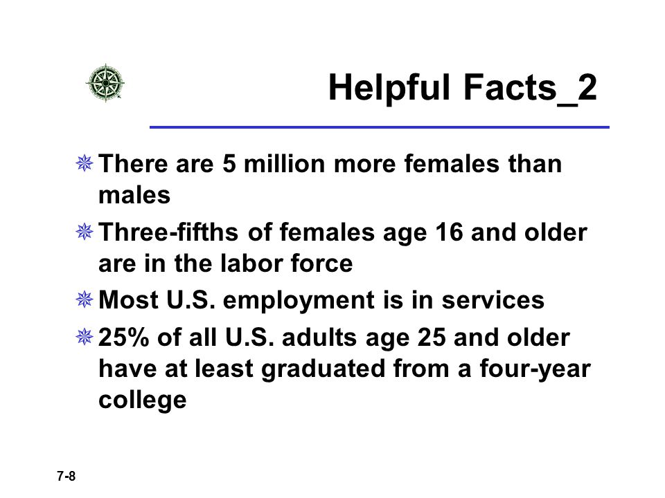 7-8 Helpful Facts_2  There are 5 million more females than males  Three-fifths of females age 16 and older are in the labor force  Most U.S. employ