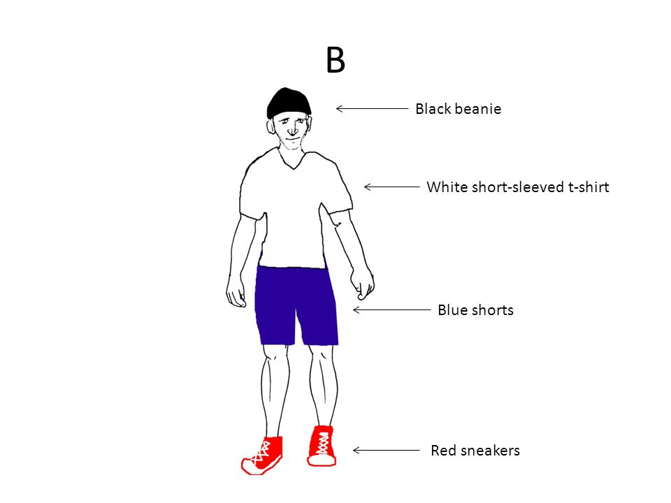 B Black beanie White short-sleeved t-shirt Blue shorts Red sneakers