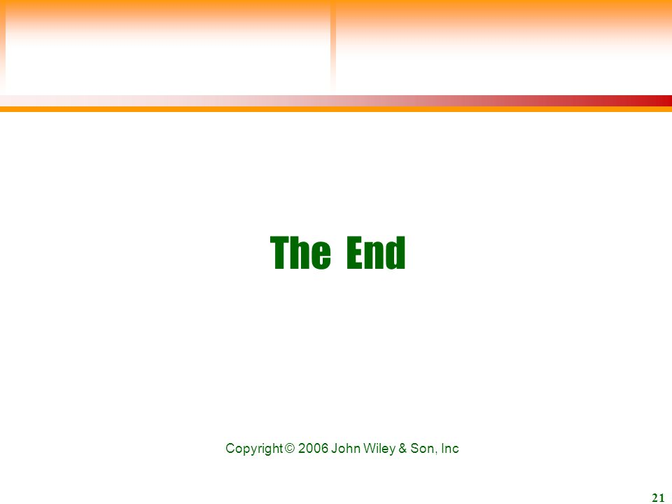 John Wiley & Son, Inc 21 The End Copyright © 2006 John Wiley & Son, Inc