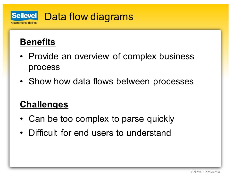 Seilevel Confidential Data flow diagrams Benefits Provide an overview of complex business process Show how data flows between processes Challenges Can be too complex to parse quickly Difficult for end users to understand