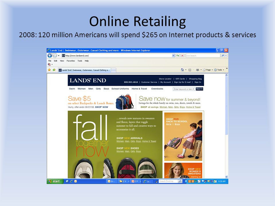 Online Retailing 2008: 120 million Americans will spend $265 on Internet products & services