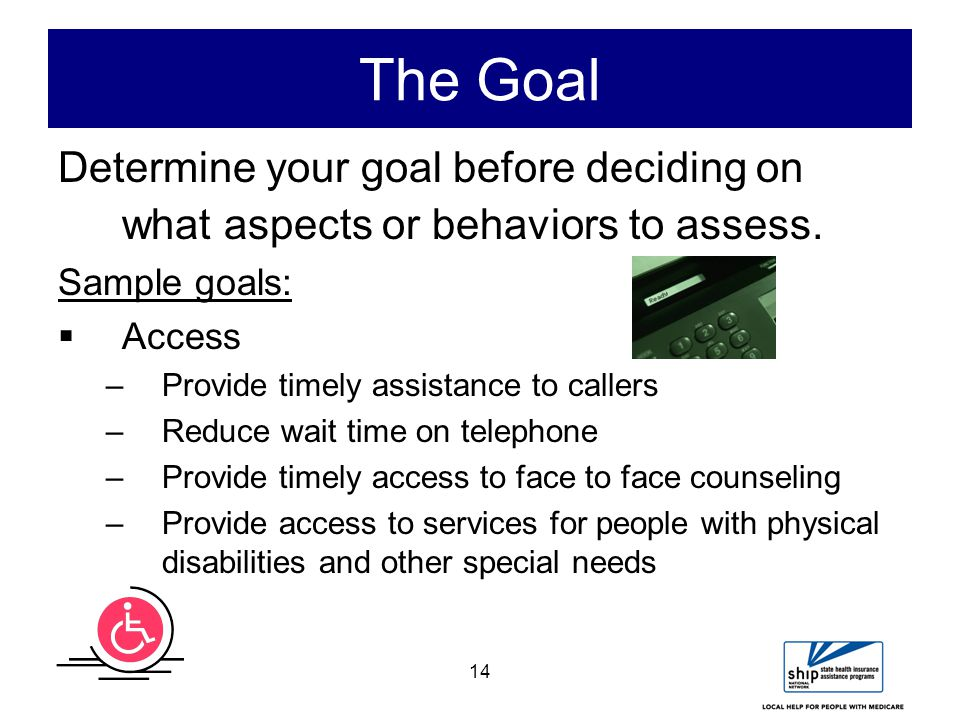 14 The Goal Determine your goal before deciding on what aspects or behaviors to assess.