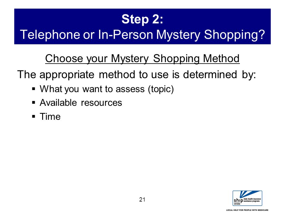 21 Step 2: Telephone or In-Person Mystery Shopping.