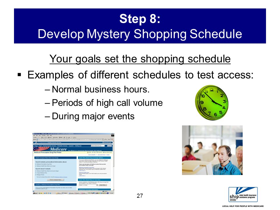 27 Step 8: Develop Mystery Shopping Schedule Your goals set the shopping schedule  Examples of different schedules to test access: –Normal business hours.