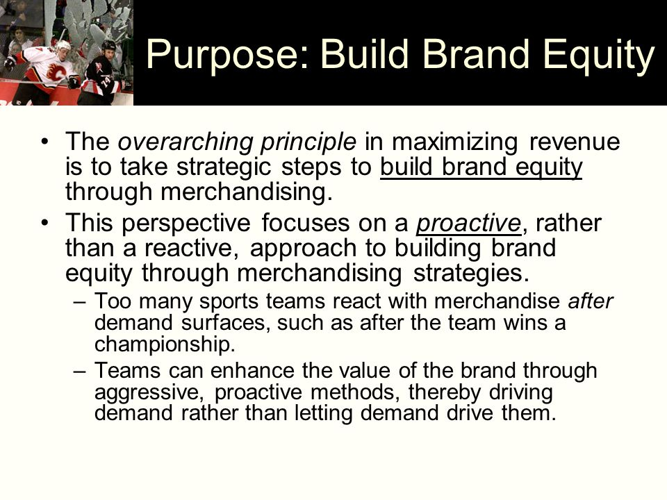 Purpose: Build Brand Equity The overarching principle in maximizing revenue is to take strategic steps to build brand equity through merchandising. Th