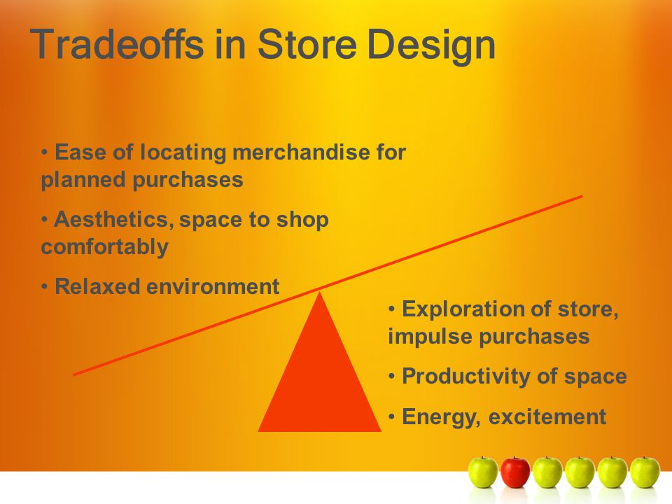 Tradeoffs in Store Design Ease of locating merchandise for planned purchases Aesthetics, space to shop comfortably Relaxed environment Exploration of