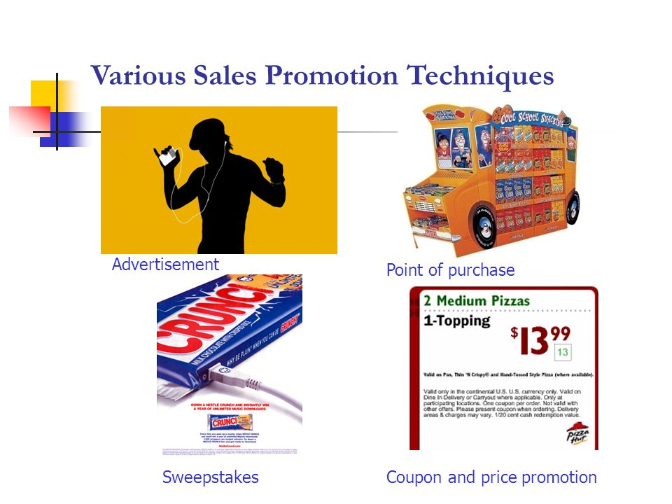 Various Sales Promotion Techniques Point of purchase SweepstakesCoupon and price promotion Advertisement