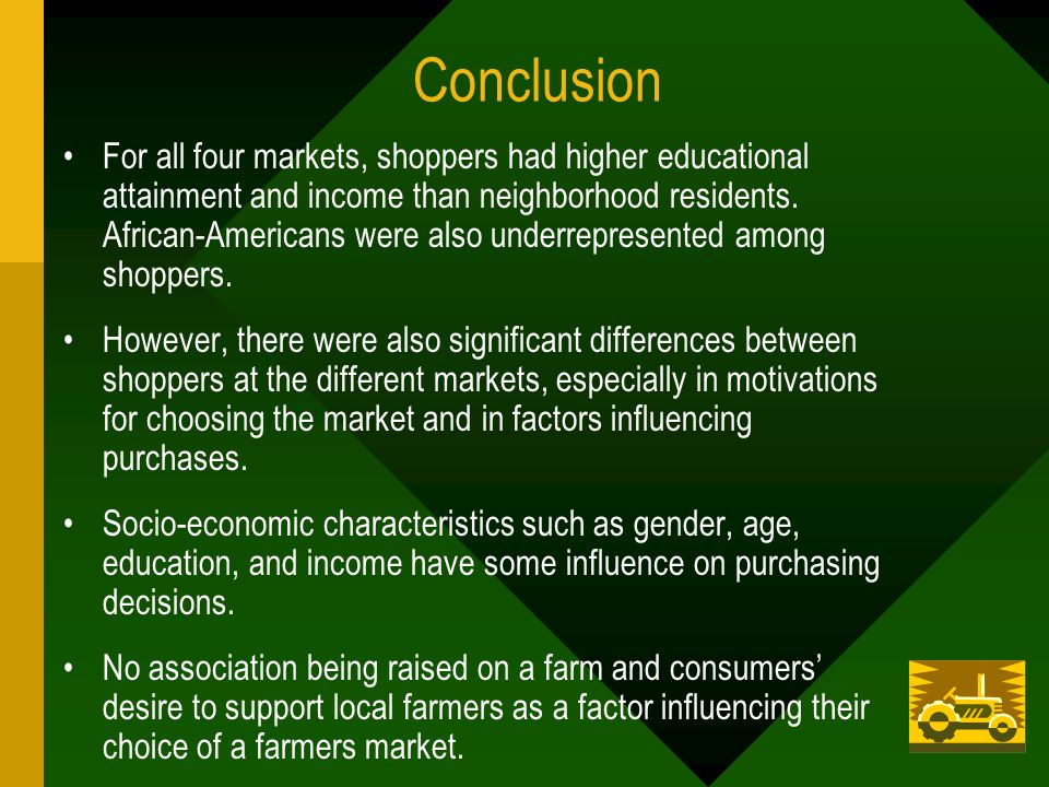 Conclusion For all four markets, shoppers had higher educational attainment and income than neighborhood residents.
