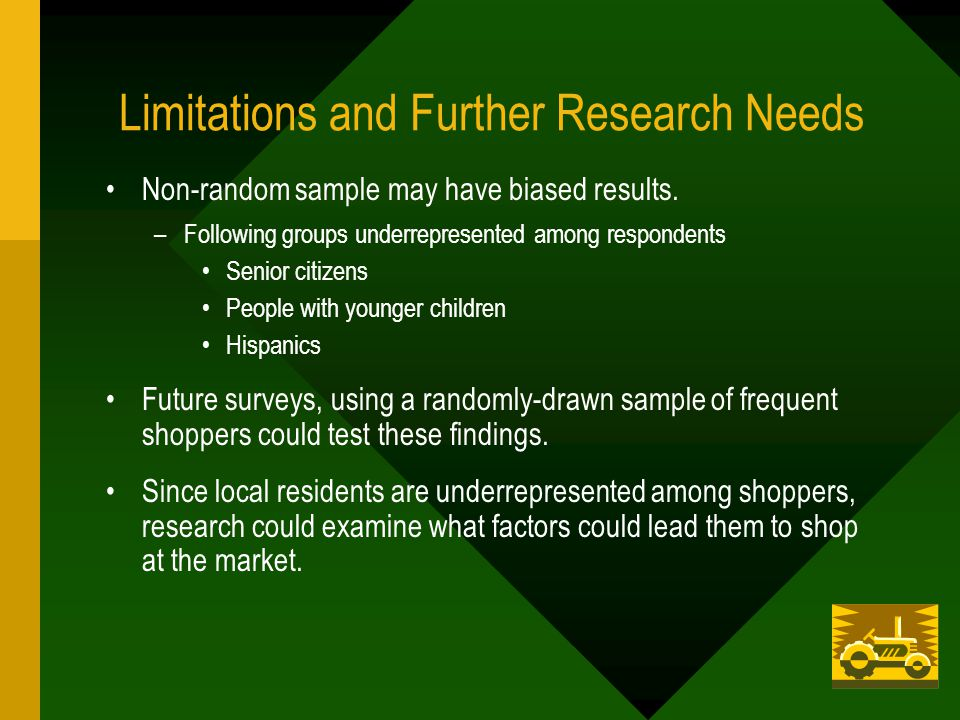 Limitations and Further Research Needs Non-random sample may have biased results.