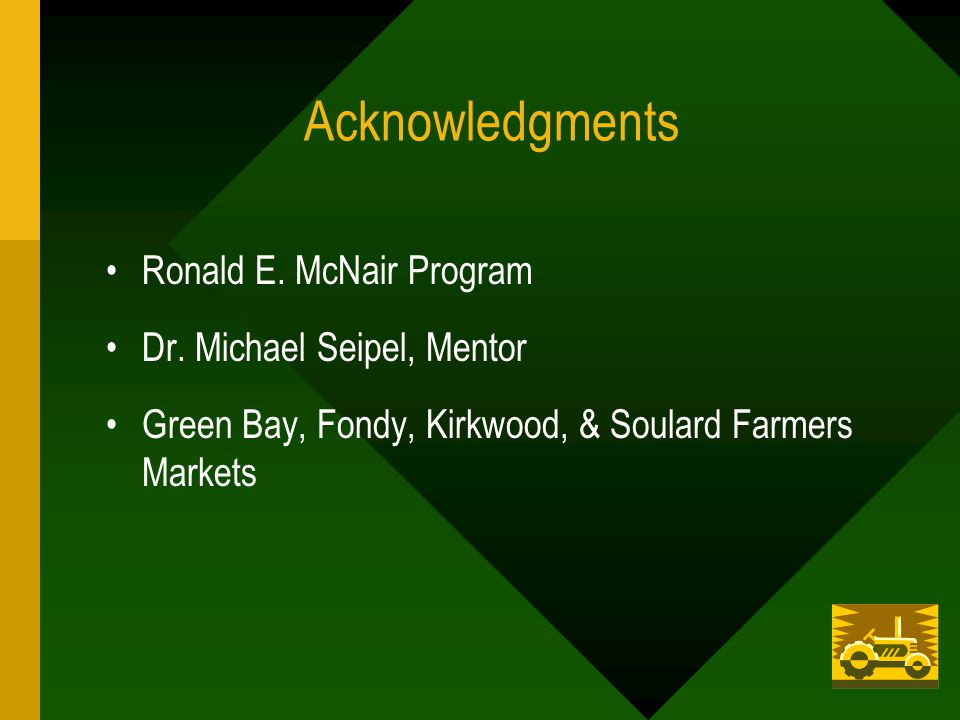 Acknowledgments Ronald E. McNair Program Dr.