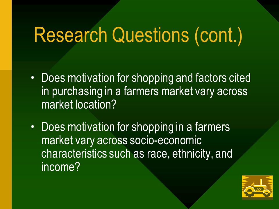 Research Questions (cont.) Does motivation for shopping and factors cited in purchasing in a farmers market vary across market location.