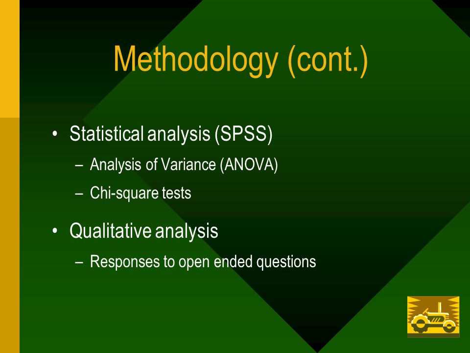 Methodology (cont.) Statistical analysis (SPSS) –Analysis of Variance (ANOVA) –Chi-square tests Qualitative analysis –Responses to open ended questions