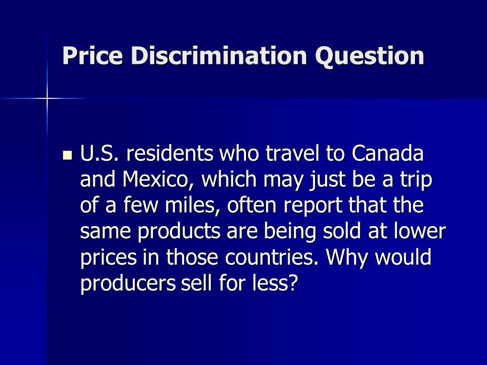 Price Discrimination Question U.S.