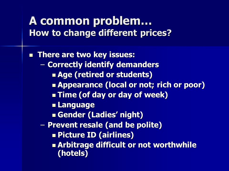 A common problem… How to change different prices.