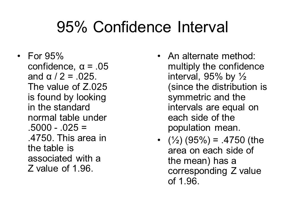 95% Confidence Interval For 95% confidence, α =.05 and α / 2 =.025. The value of Z.025 is found by looking in the standard normal table under.5000 -.0
