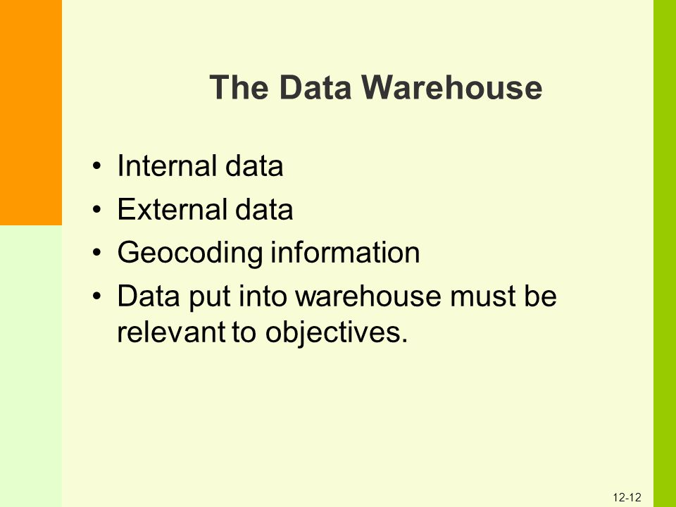 12-12 The Data Warehouse Internal data External data Geocoding information Data put into warehouse must be relevant to objectives.