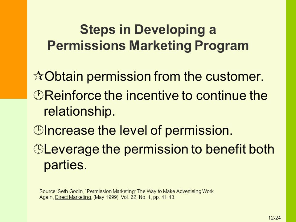 12-24 Steps in Developing a Permissions Marketing Program ¶Obtain permission from the customer. ·Reinforce the incentive to continue the relationship.