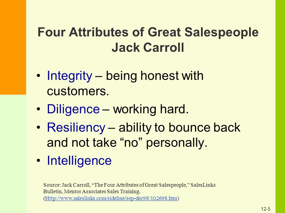 12-5 Four Attributes of Great Salespeople Jack Carroll Integrity – being honest with customers. Diligence – working hard. Resiliency – ability to boun