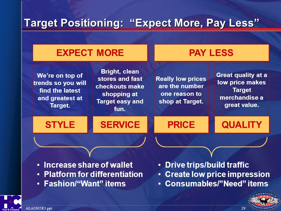 """29ALA2005R3.ppt Target Positioning: """"Expect More, Pay Less"""" PAY LESS EXPECT MORE We're on top of trends so you will find the latest and greatest at Ta"""