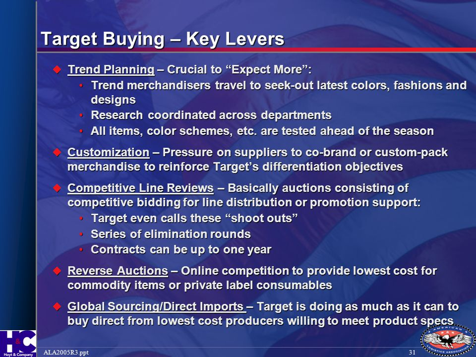 """31ALA2005R3.ppt Target Buying – Key Levers  Trend Planning – Crucial to """"Expect More"""": Trend merchandisers travel to seek-out latest colors, fashions"""
