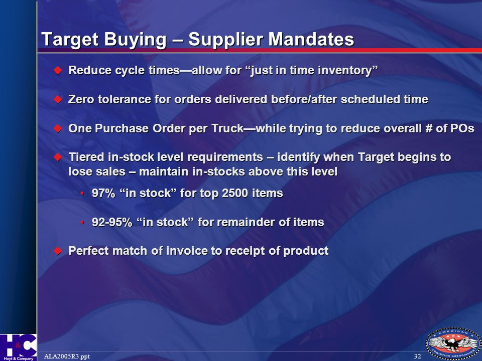 """32ALA2005R3.ppt Target Buying – Supplier Mandates  Reduce cycle times—allow for """"just in time inventory""""  Zero tolerance for orders delivered before"""