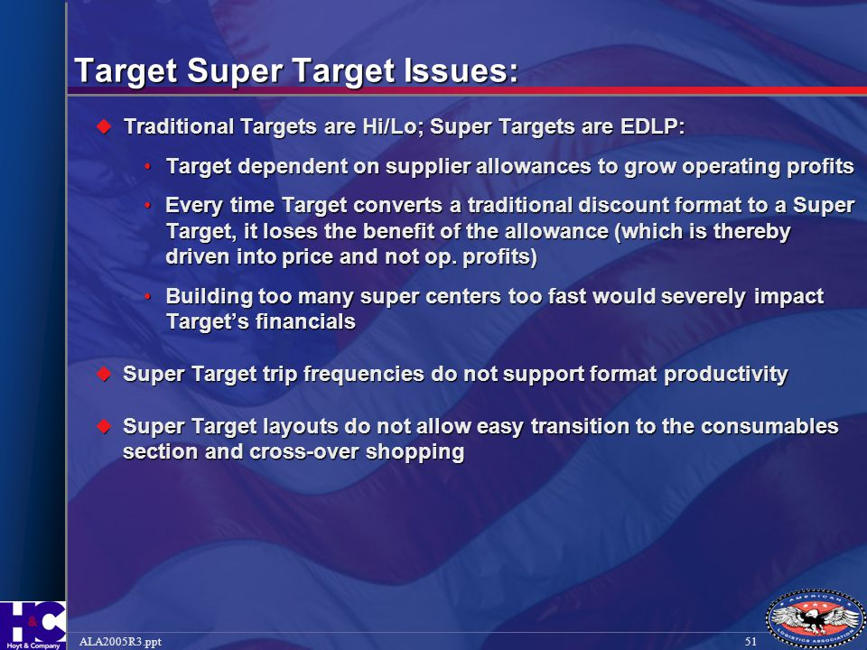 51ALA2005R3.ppt Target Super Target Issues:  Traditional Targets are Hi/Lo; Super Targets are EDLP: Target dependent on supplier allowances to grow o