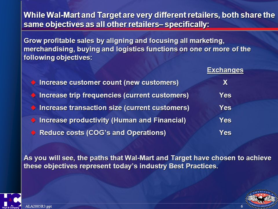6ALA2005R3.ppt While Wal-Mart and Target are very different retailers, both share the same objectives as all other retailers– specifically: Grow profi