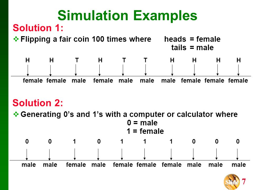Slide Slide 7 Simulation Examples Solution 1:  Flipping a fair coin 100 times where heads= female and tails = male H H T H T T H H H H  Generating 0