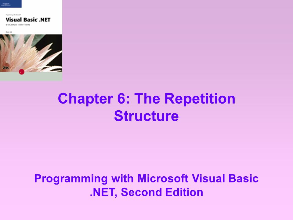 Chapter 6: The Repetition Structure Programming with Microsoft Visual Basic.NET, Second Edition
